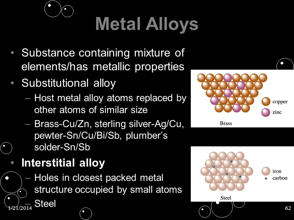 Metal Alloys Substance containing mixture of elements/has metallic properties. Substitutional alloy.