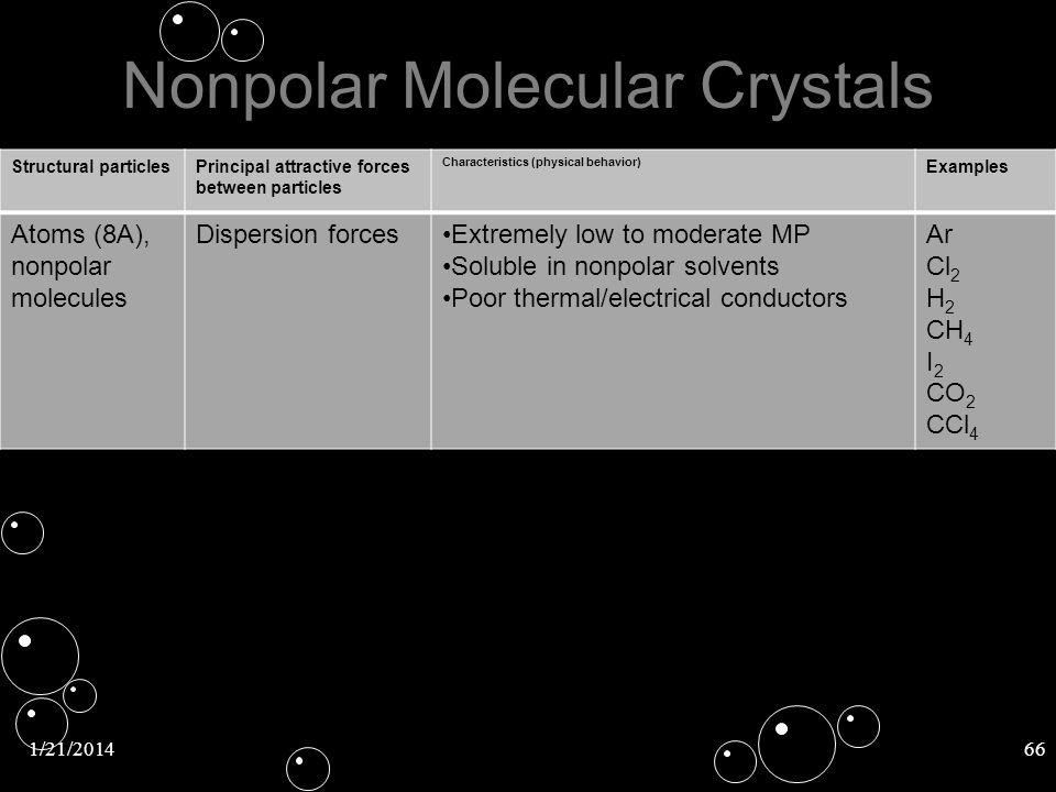 Nonpolar Molecular Crystals