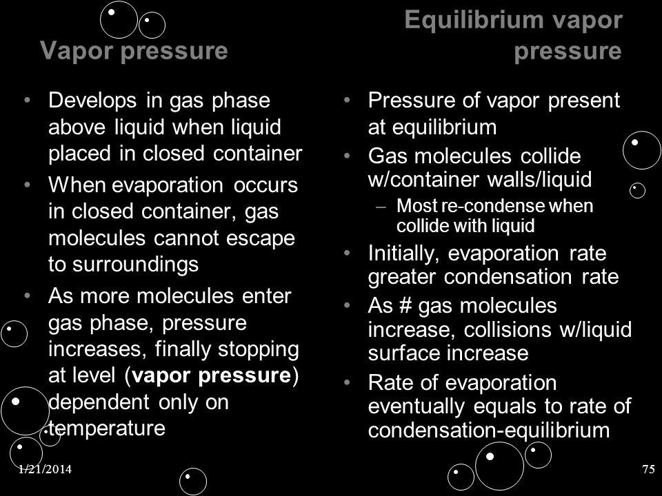 Equilibrium vapor pressure
