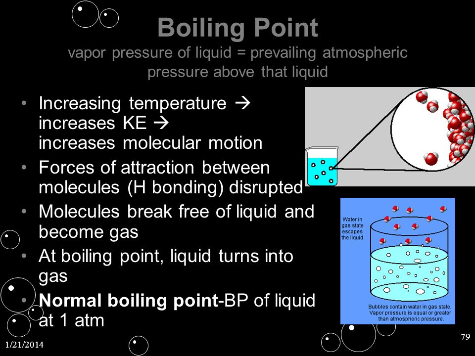 Boiling Point vapor pressure of liquid = prevailing atmospheric pressure above that liquid