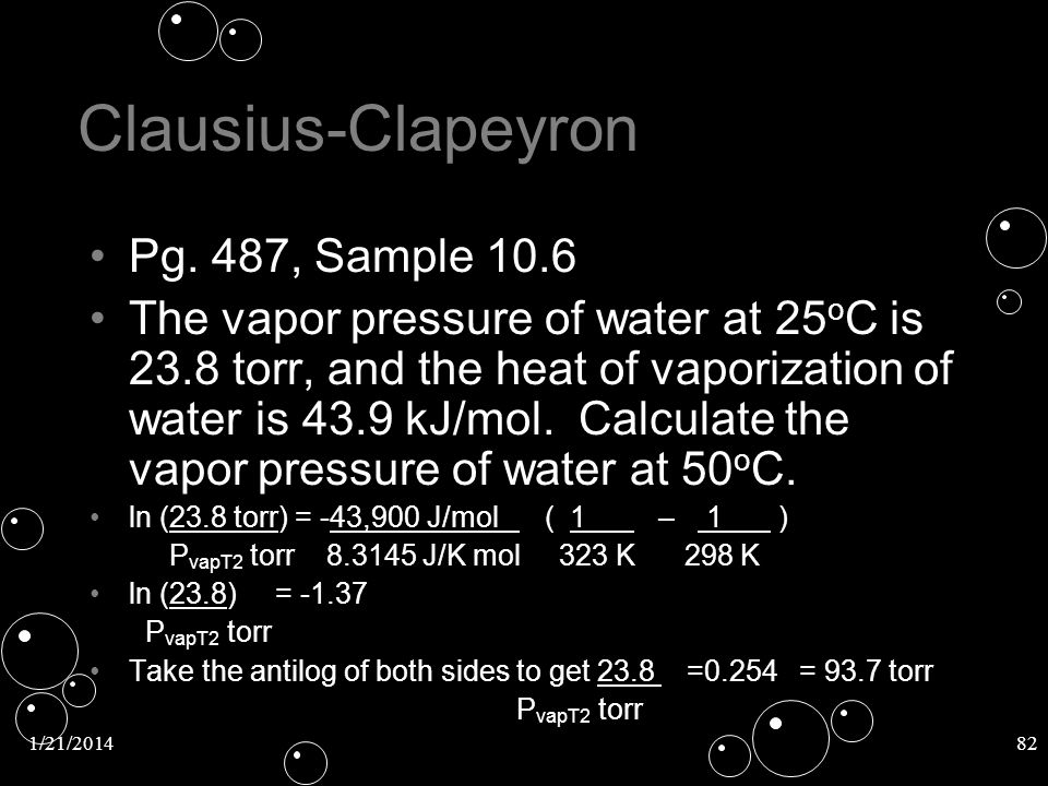 Clausius-Clapeyron Pg. 487, Sample 10.6