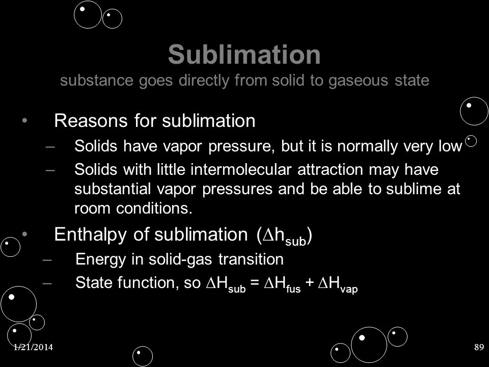 Sublimation substance goes directly from solid to gaseous state