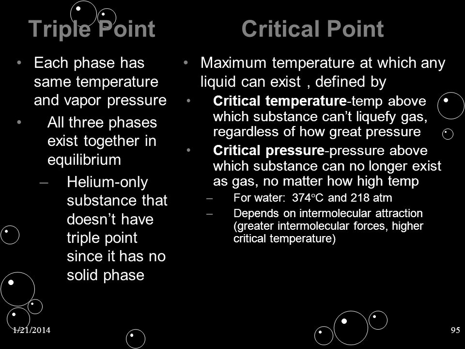 Triple Point Critical Point