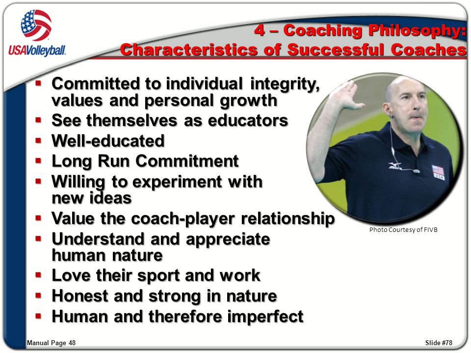 4 – Coaching Philosophy: Characteristics of Successful Coaches