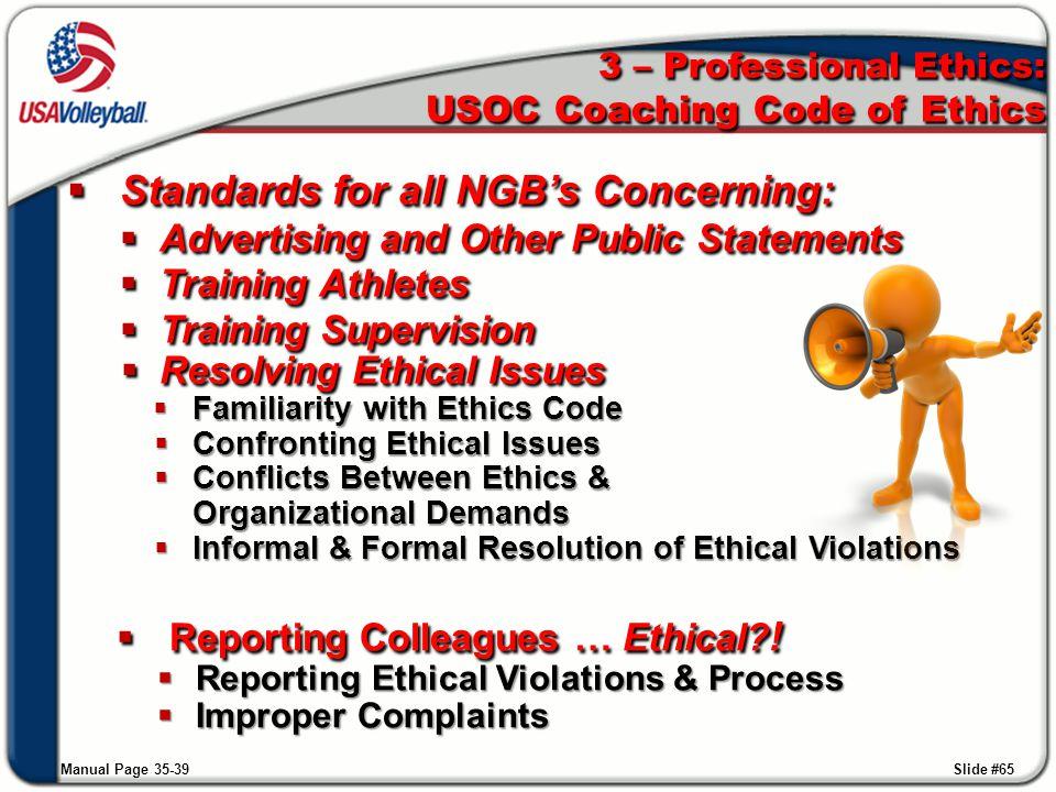 3 – Professional Ethics: USOC Coaching Code of Ethics