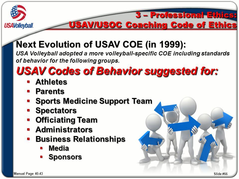 3 – Professional Ethics: USAV/USOC Coaching Code of Ethics