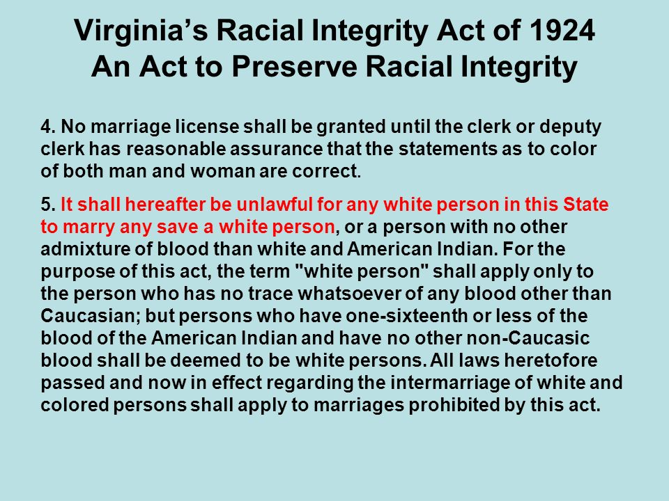 Virginia's Racial Integrity Act of 1924 An Act to Preserve Racial Integrity