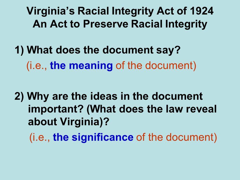 Virginia's Racial Integrity Act of 1924 An Act to Preserve Racial Integrity