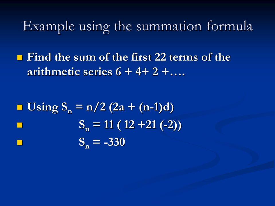 Example using the summation formula