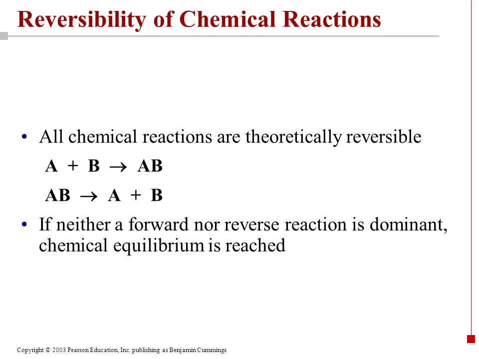Reversibility of Chemical Reactions