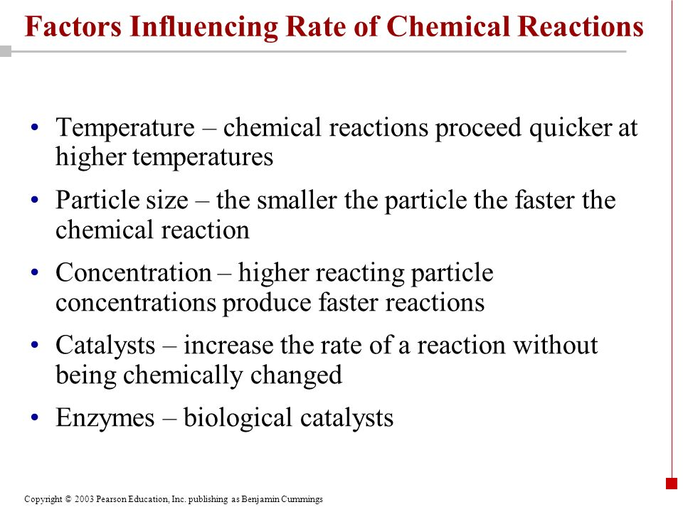 Factors Influencing Rate of Chemical Reactions