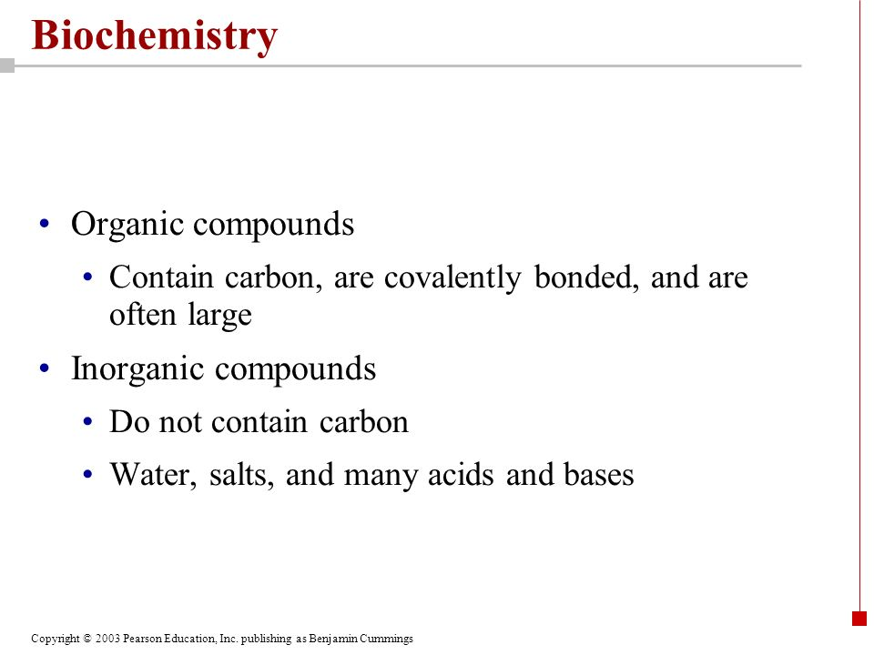 Biochemistry Organic compounds Inorganic compounds