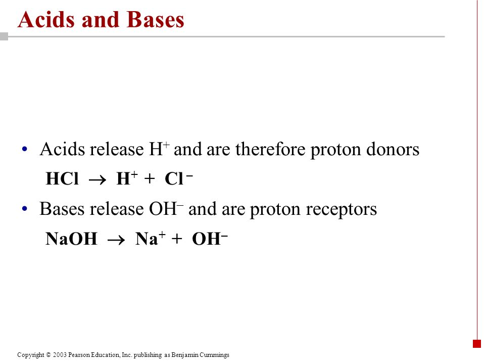 Acids and Bases Acids release H+ and are therefore proton donors