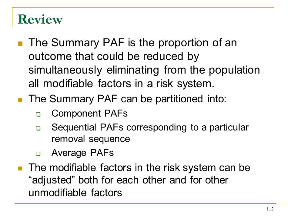 Partitioning of the Summary PAF