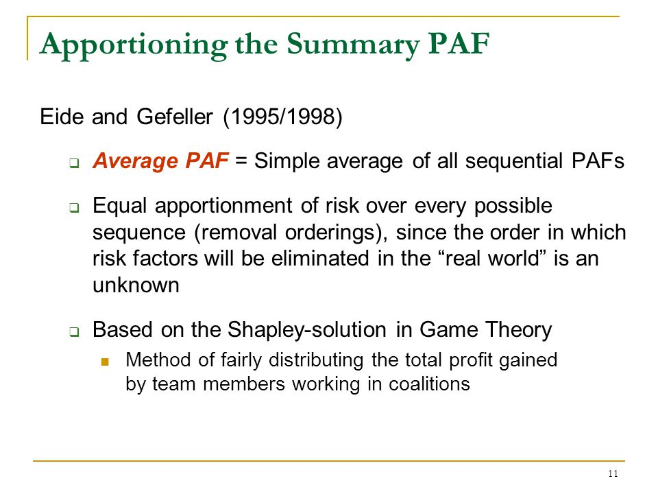 Apportioning the Summary PAF: The Average PAF