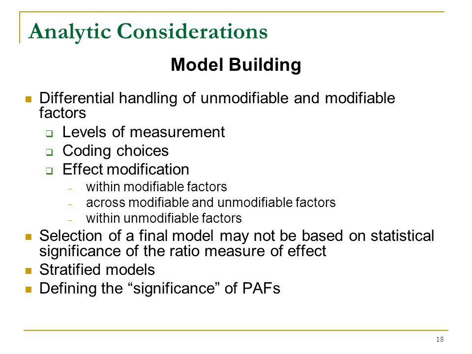 Analytic Considerations
