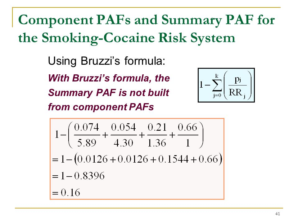 Limitation of Component PAFs from the Smoking-Cocaine Risk System