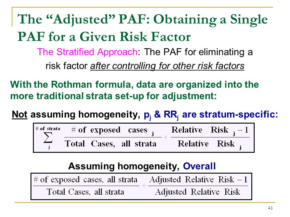 The Adjusted PAF: Obtaining a Single PAF for a Given Factor