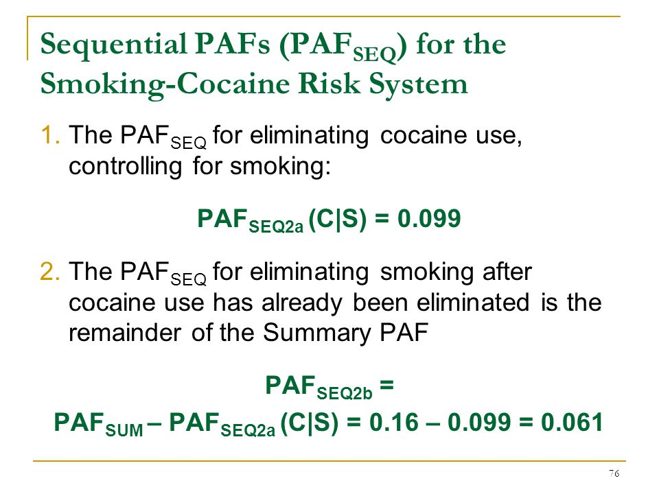 Sequential PAFs (PAFSEQ) for the Smoking-Cocaine Risk System