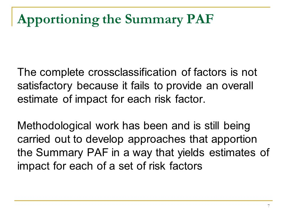 Apportioning the Summary PAF