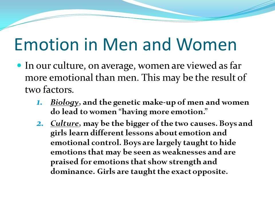 Emotion in Men and Women