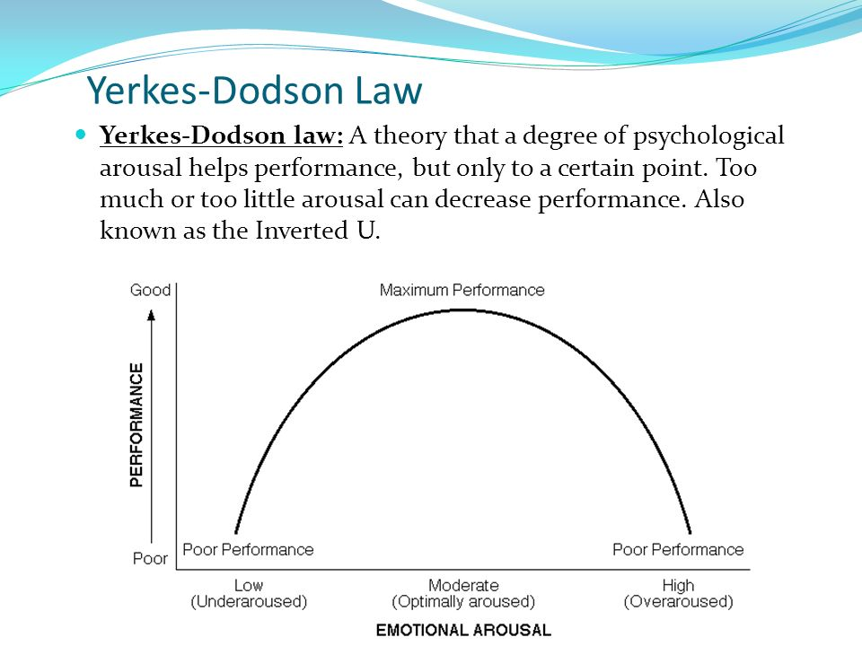 arousal the yerkes dodson law states This concept is called the yerkes-dodson law think about getting ready for the sats if you are too pumped up, your sympathetic nervous system kicks in and it is hard to concentrate if you are not aroused at all, you just won't put your all in and still will not perform well the yerkes-dodson law basically states that their is a.
