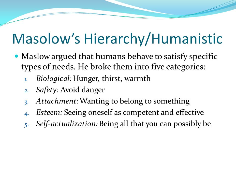 Masolow's Hierarchy/Humanistic