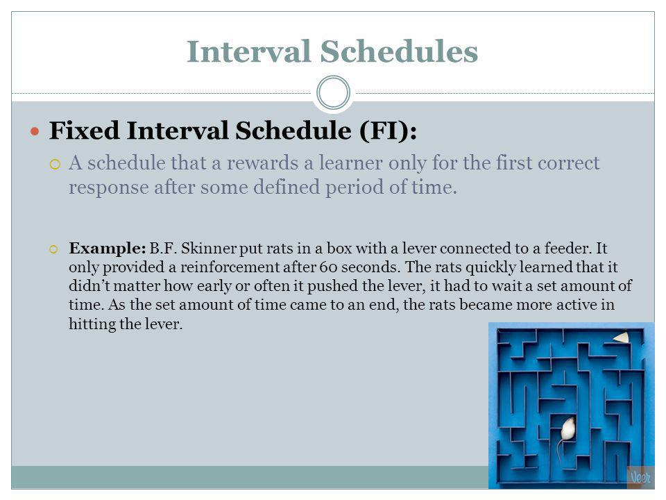Interval Schedules Fixed Interval Schedule (FI):