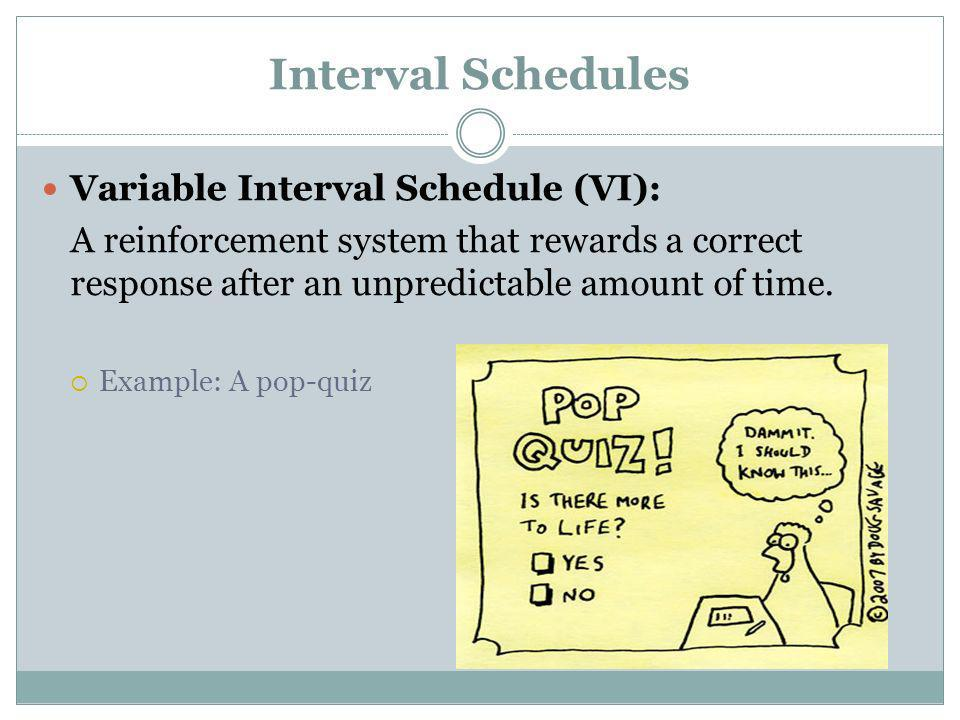 Interval Schedules Variable Interval Schedule (VI):