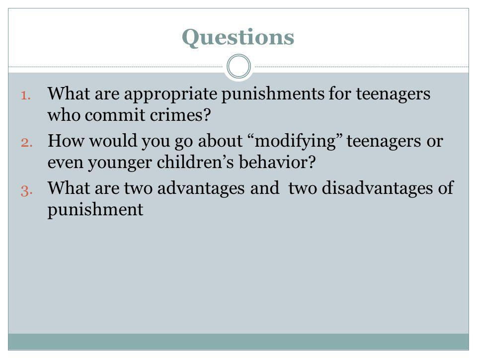 Questions What are appropriate punishments for teenagers who commit crimes
