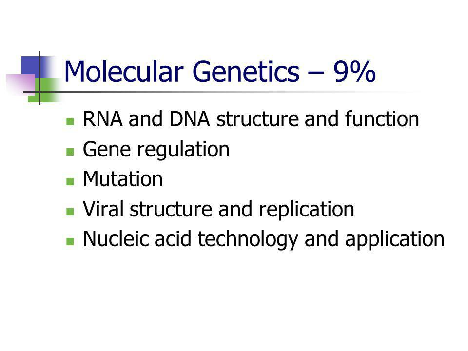 Molecular Genetics – 9% RNA and DNA structure and function