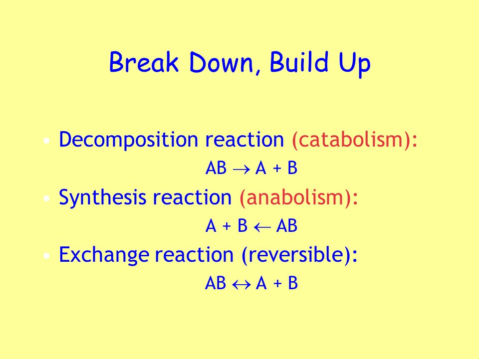 Break Down, Build Up Decomposition reaction (catabolism):