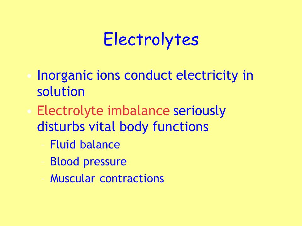 Electrolytes Inorganic ions conduct electricity in solution