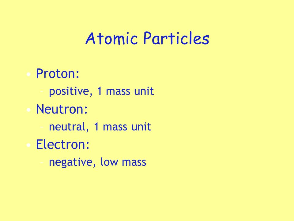 Atomic Particles Proton: Neutron: Electron: positive, 1 mass unit