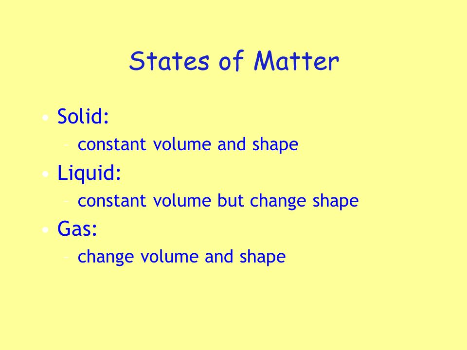 States of Matter Solid: Liquid: Gas: constant volume and shape