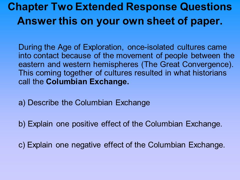Chapter Two Extended Response Questions