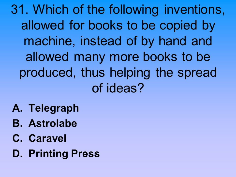 A. Telegraph B. Astrolabe C. Caravel D. Printing Press