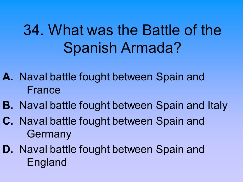 34. What was the Battle of the Spanish Armada