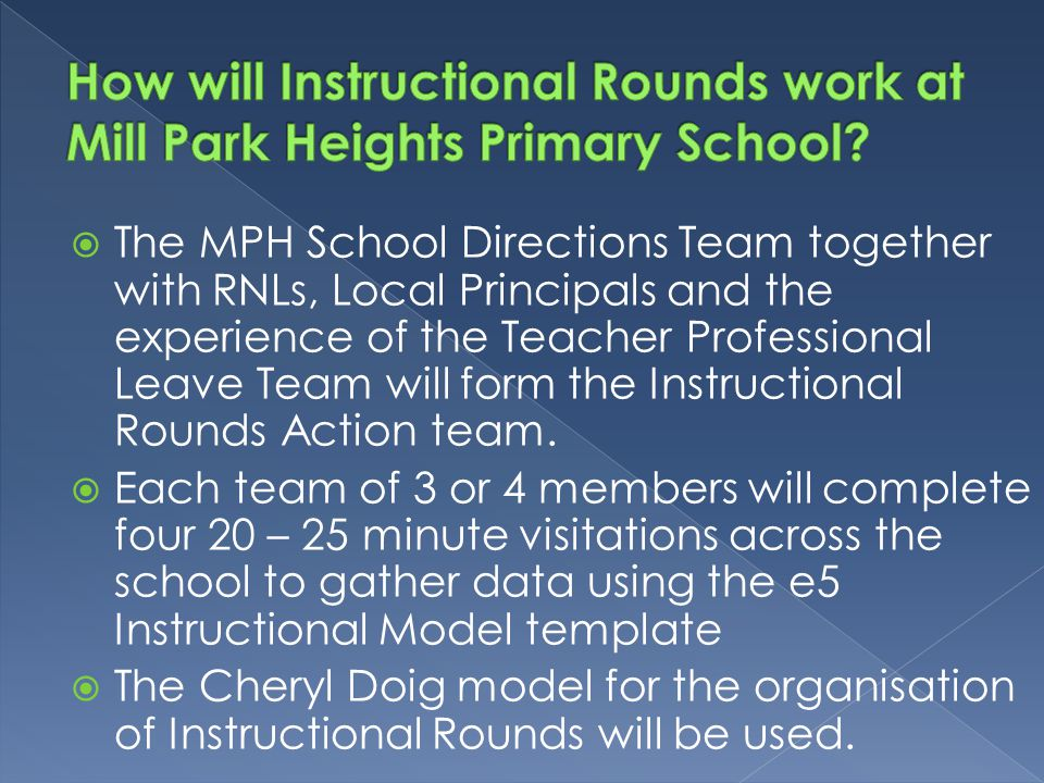 How will Instructional Rounds work at Mill Park Heights Primary School