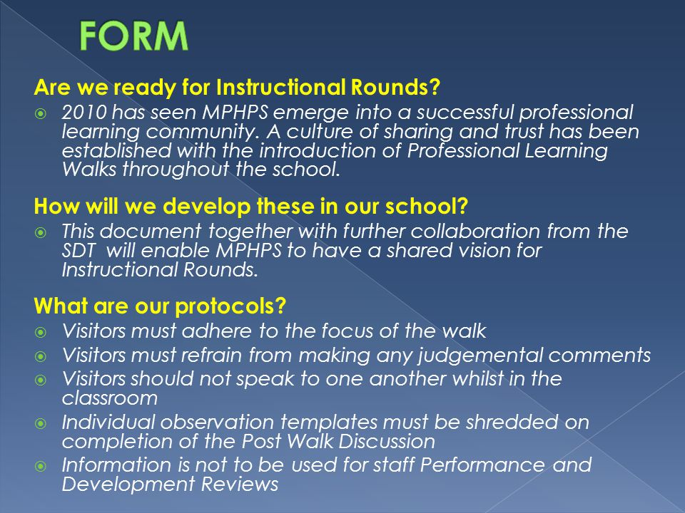 FORM Are we ready for Instructional Rounds