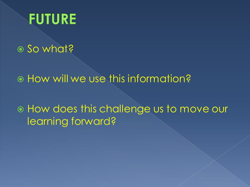 FUTURE So what How will we use this information