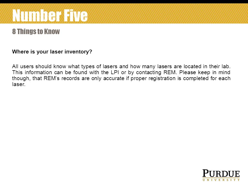 Number Five 8 Things to Know