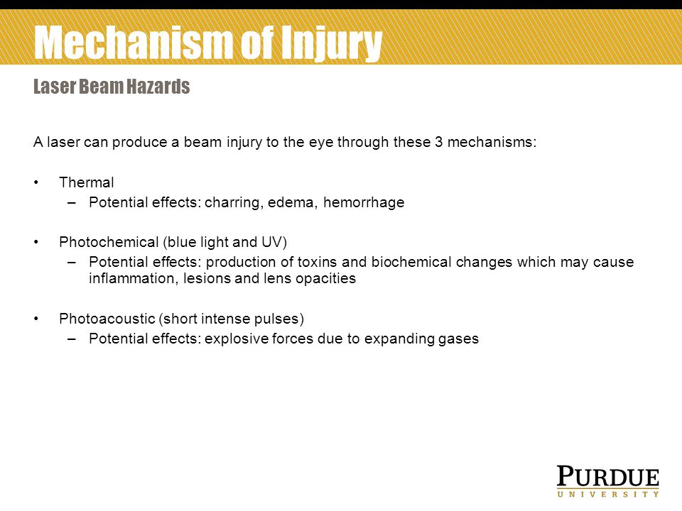 Mechanism of Injury Laser Beam Hazards