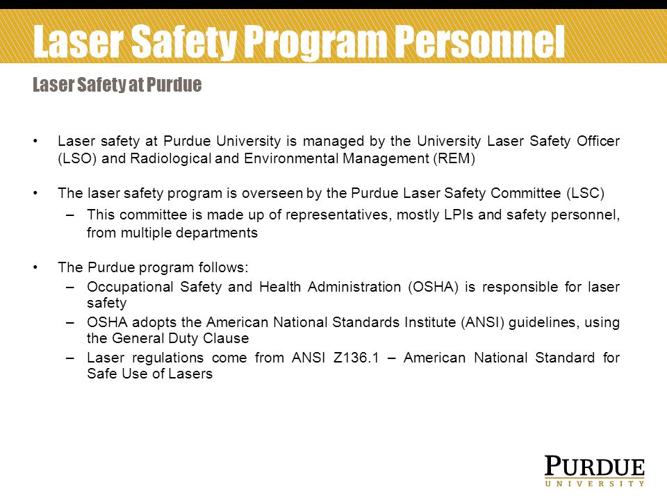 Laser Safety Program Personnel