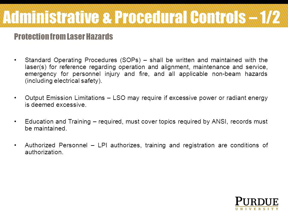 Administrative & Procedural Controls – 1/2