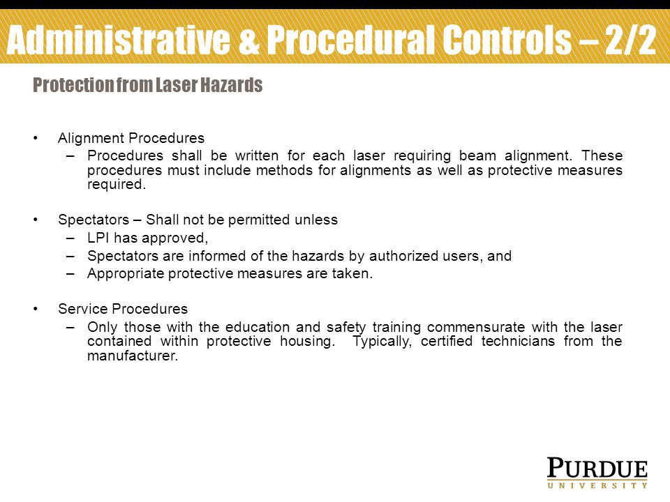 Administrative & Procedural Controls – 2/2