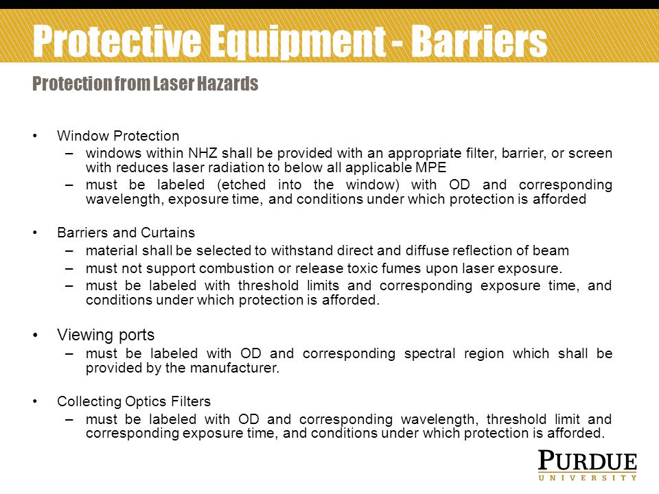 Protective Equipment - Barriers