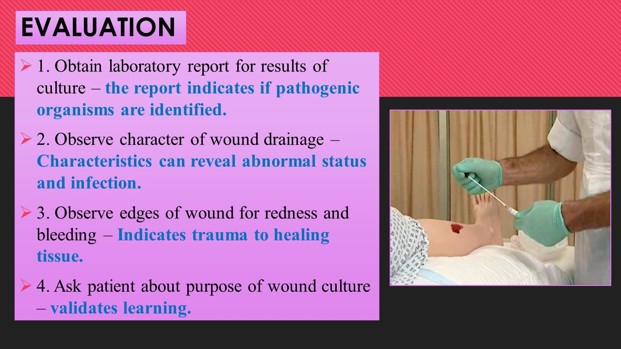 EVALUATION 1. Obtain laboratory report for results of culture – the report indicates if pathogenic organisms are identified.
