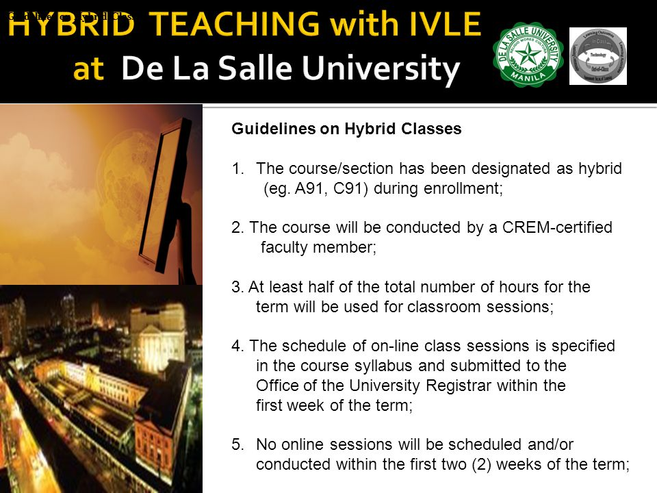 HYBRID TEACHING with IVLE at De La Salle University