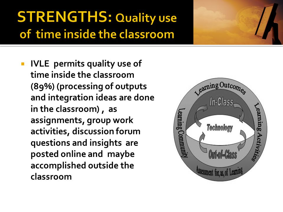 STRENGTHS: Quality use of time inside the classroom